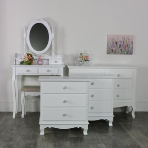 White Bedroom Set, Dressing Table Set, Chest of Drawers and a Pair of Bedside Chests - Lila Range