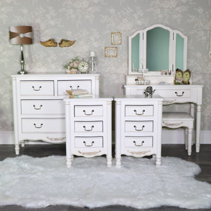 Bedroom Set, Dressing Table Set, Chest Of Drawers and Pair of Bedside Tables - Adelise Range