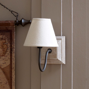 Beige Linen Cottage Wall Light