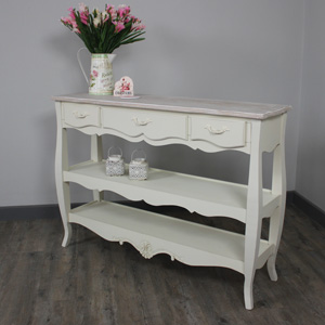 Belfort Range - Cream Console Table with Three Drawers and Shelves