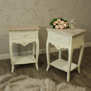 Belfort Range - Furniture Bundle, Pair of Cream One Drawer Bedside Table with Shelf