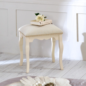 Cream Fabric Padded Stool - Belgravia Range
