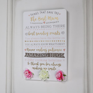 'Best Mum' Message Wall Plaque