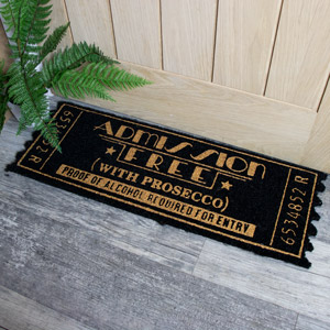 Black and Gold Coir Door Mat