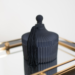 Black Glass Candle Holder with Tassel