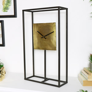 Black & Gold Metal Framed Clock