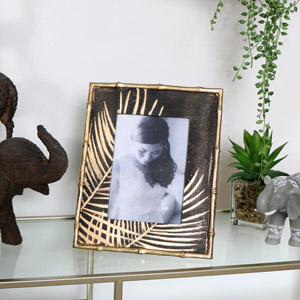 Black & Gold Palm Leaf Photo Frame