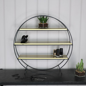 Black & Gold Round Shelving Display