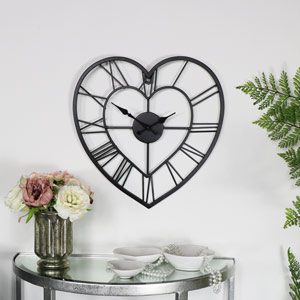 Black Heart Skeleton Wall Clock