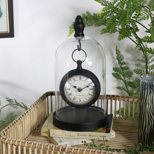 Black Mantel Clock in Glass Cloche Dome Case