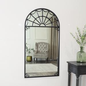 Black Metal Arched Window Mirror 60cm x 115cm