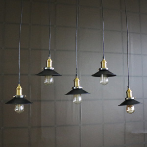 Black Metal Ceiling 5 Light Cluster