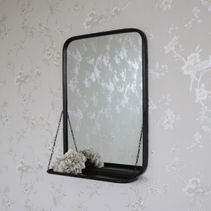 Black Metal Industrial Vanity Wall Mirror with Shelf 49.5cm x 69.5cm