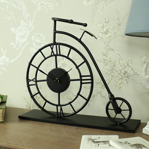 Black Metal Penny Farthing Mantel Clock