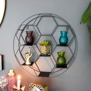 Black Metal Round Wall Shelf