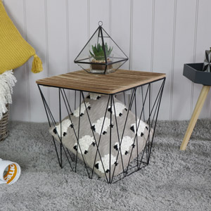 Black Wire Metal Square Basket Table