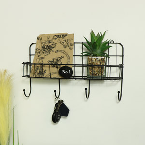 Black Metal Wire Wall Shelf with Hooks