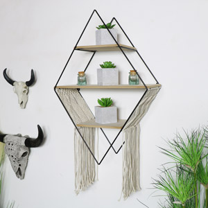 Black Metal & Wood Diamond Wall Shelf