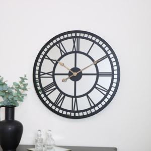 Black Mirrored Skeleton Clock 60cm x 60cm
