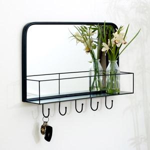 Black Mirrored Wall Shelf With Hooks