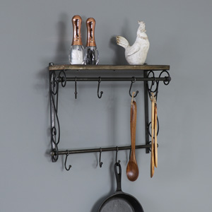 Black Ornate Wall Shelf with Hooks