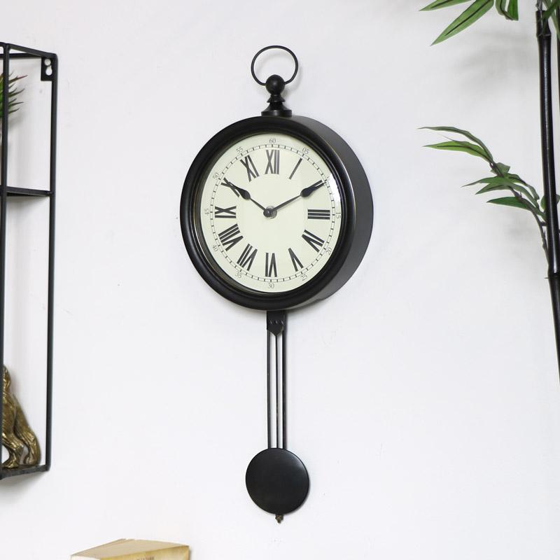 Black Pendulum Wall Clock