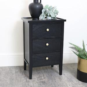 Black Pine Wood 3 Drawer Bedside Table