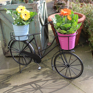 Black Rustic Bicycle Plant Holder