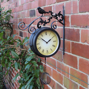 Black Rustic Outdoor Bird Clock