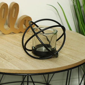 Black Sphere Tealight Candle Holder