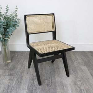 Black Teak Wood & Rattan Chair