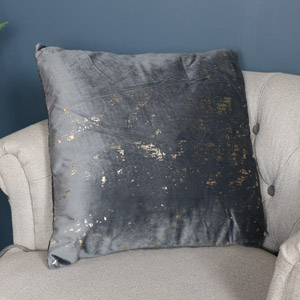 Grey Velvet Gold Foil Scatter Cushion