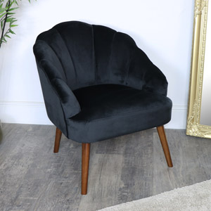 Black Velvet Shell Chair