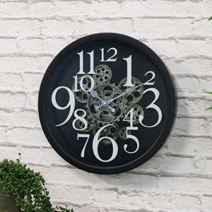 Black Wall Mounted Gear Style Clock