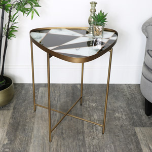 Black & White Gold Side Table