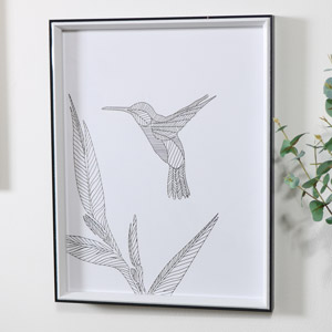 Black & White Hummingbird Line Drawing Wall Print