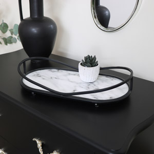 Black & White Oval Marble Tray