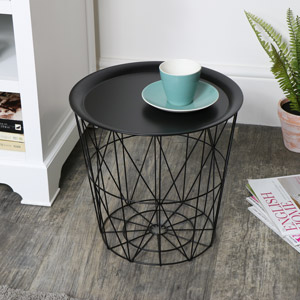 Black Wire Metal Basket Table with Tray Top