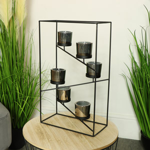 Black Wire Metal Framed Candle Holder