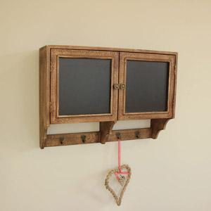 Blackboard Wall Cupboard with Hooks