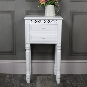 White 2 Drawer Bedside Table - Blanche Range
