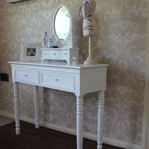 White Dressing Table and Mirror Set - Blanche Range