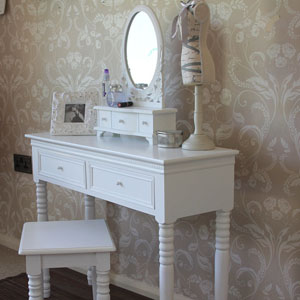 White Dressing Table with Mirror and Stool - Blanche Range