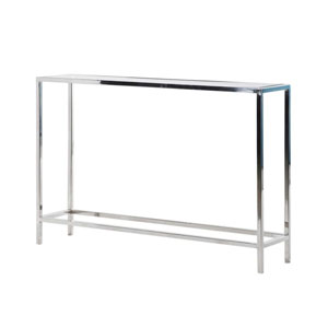 Silver Metal & Glass Console Table