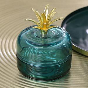 Blue & Gold Glass Pineapple Pot