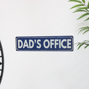 Blue Metal Dad's Office Wall Sign