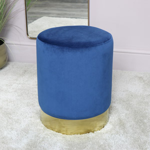Blue Velvet Stool with Gold Base