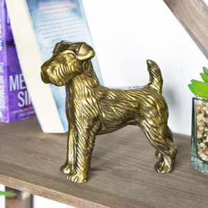 Brass Colour Metal Decorative Dog Ornament