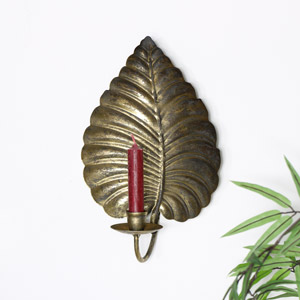 Brass Leaf Wall Mounted Candle Sconce