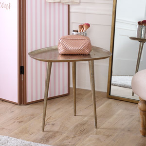 Brass Metal Tripod Side Table